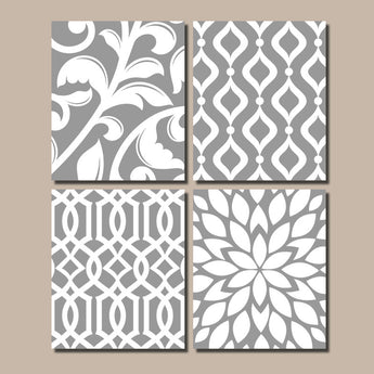 GRAY Bedroom Wall Art, Trellis Pattern Swirl Design, Canvas or Prints, BATHROOM Decor, Kitchen Pictures, Flower Burst, Home Decor, Set of 4