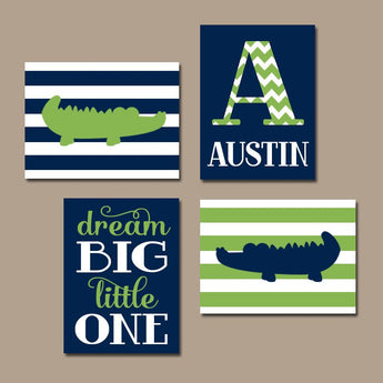 ALLIGATOR Wall Art, BABY BOY Nursery Wall Art, Custom Boy Bedroom Decor Stripes Dream Big Little One, Navy Green Set of 4 Canvas or Print