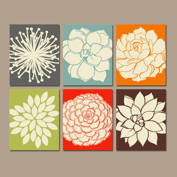 Flower Wall Art, KITCHEN Wall Art, CANVAS or Prints, Bathroom Decor, Bedroom Wall Decor, Botanical Succulent Flowers, Home Decor Set of 6