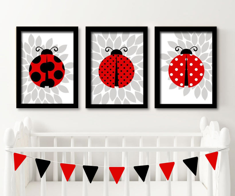 LADYBUG Wall Art, Ladybug Nursery Decor, Baby Girl Nursery Art, Girl Bedroom Wall Decor, Flower Ladybug Theme, Set of 3 Canvas or Prints