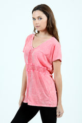 Vocal Apparel V-Neck Short Sleeve Coral Top (10322S)