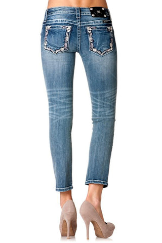 *Miss Me Two-Toned Ivy Border Ankle Skinny Jeans (JP5820AK2)