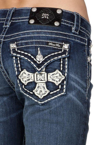 "Miss Me ""French Empire Cross"" Boyfriend Ankle Jeans (JB5046A17)"