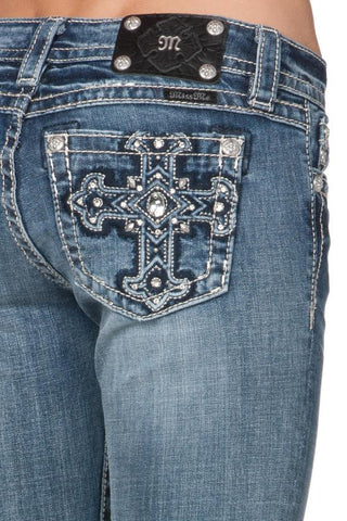 "*Miss Me ""Blue Patched Cross"" Skinny Jeans (JP5899S)"