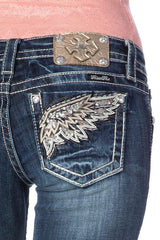 "Miss Me ""Chunky Leather Wing"" Skinny Jeans (JP7072S)"