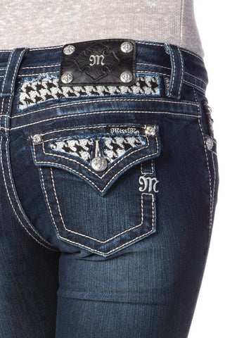 "*Miss Me ""Houndstooth Insert"" Mid-rise Skinny Jeans (MP6322S)"