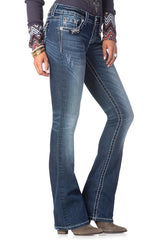 "Miss Me ""Pyramid Stud Border"" Midrise Boot Cut Jeans (MP7088B)"