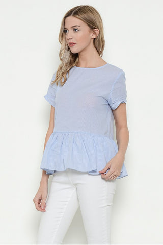 Esley Collection Short Sleeve Frill Top (31190T-N)