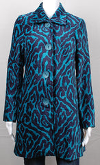 Velvet Teal and Blue Animal Print Coat by Three Sisters