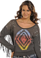 Rock & Roll Cowgirl Aztec Pullover Sweater (48T9008)