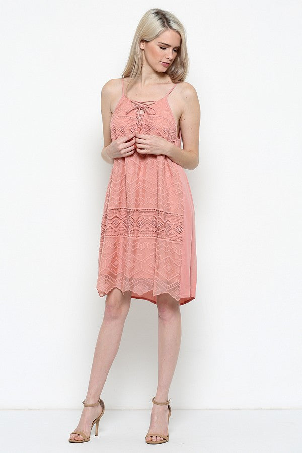 Esley Collection Lace Up Spaghetti Strap Dress (60434D-N)
