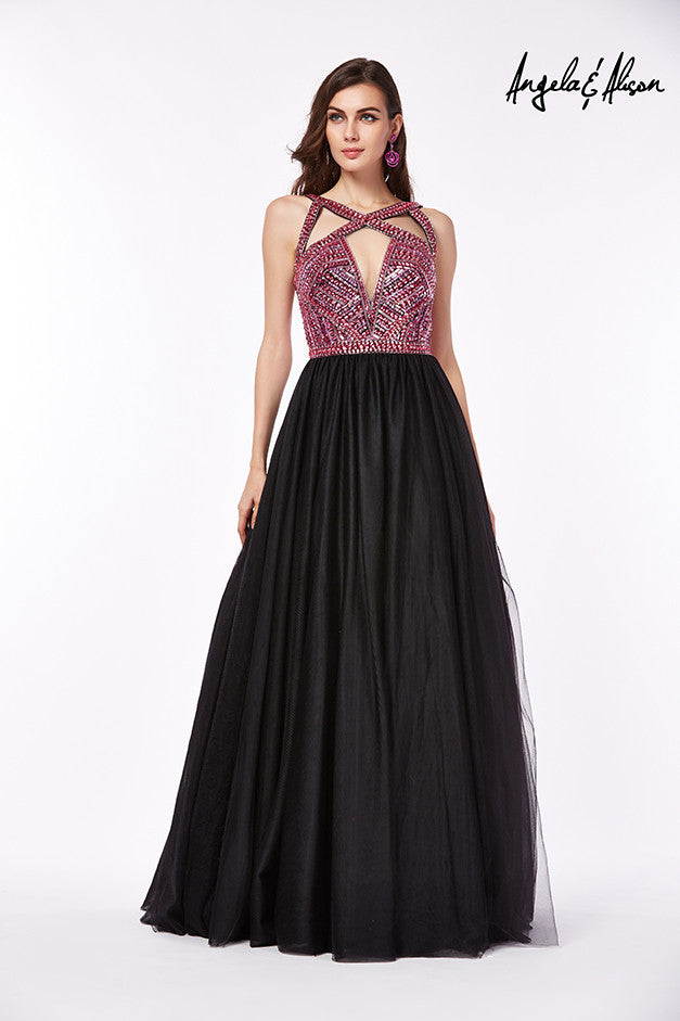 Angela & Alison Prom Dress (Style #61030) in Fuchsia/Black