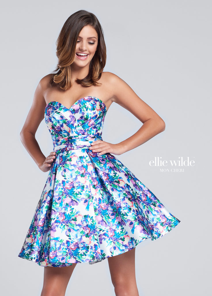 Ellie Wilde by Mon Cheri Short Prom Dress Style EW117169