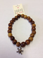 Dogeared (not to) Worry Beads Bracelet - Teak Wood with Sterling Silver Charm
