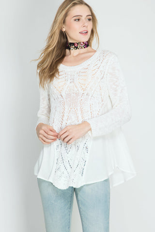 She + Sky Bell Sleeve Off Shoulder Top (SL4546)