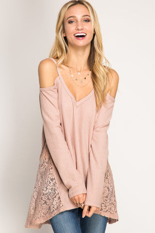 She + Sky Long Sleeve Cold Shoulder Waffle Knit Top (SL3756)
