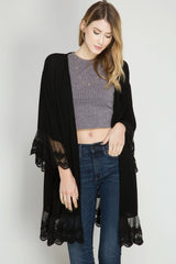 She + Sky Lace Trim Open Cardigan (SL3914)