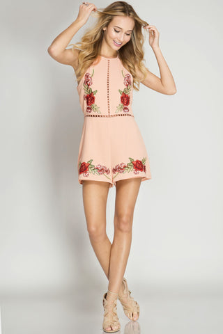 She + Sky Halter Romper w/ Floral Embroidery (SL4032)