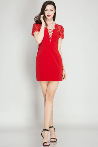 She + Sky Fitted Red Lace Dress (SL4084)