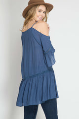 She + Sky Tiered Cold Shoulder Button Down Tunic Top (SL4325)