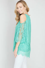 She + Sky Cold Shoulder Lace Top in Jade (SL4375)