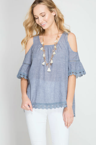 She + Sky Cold Shoulder Top with Lace Trim (SL4547)