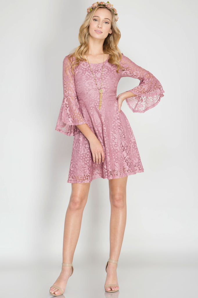 She + Sky Fit and Flare Lace Dress (SL4583)