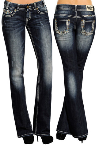 Rock & Roll Cowgirl Boot Cut Embellished Jeans ((WO5537)