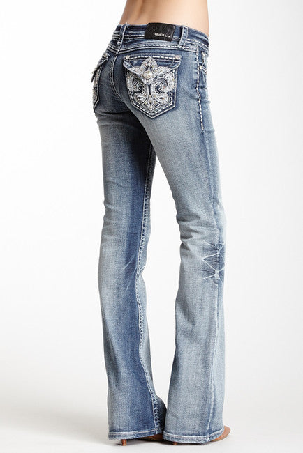 Grace in LA Accented Flare Boot Cut Jeans (JL3011)