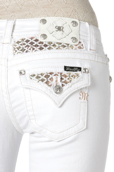"Miss Me ""Golden Girl"" Cuffed Skinny Jeans (JP7150CK2)"