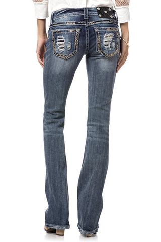 "*Miss Me ""Running Lines Border"" Boot Cut Jeans (JP8418B)"