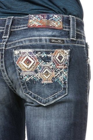 "*Miss Me ""Geometric Splendor"" Straight Cut Jeans (JP8423T)"