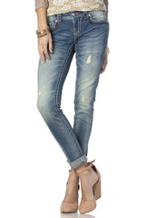 *Miss Me Two Tone Big Stitch Border Cuff Skinny Jeans (JS5014CK87)