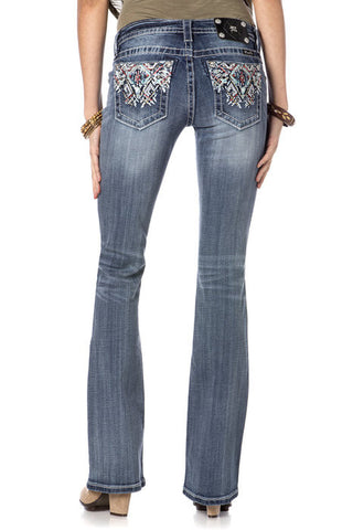 "*Miss Me ""Summer Spell"" Tribal Mid-Rise Boot Cut Jeans (MW8161B3)"