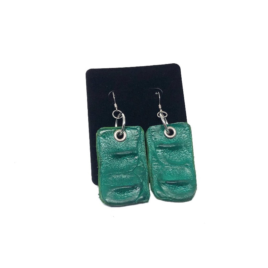 FARM-RAISED CROCODILE DROP EARRINGS WITH METAL RINGS. by NYET Jewelry.