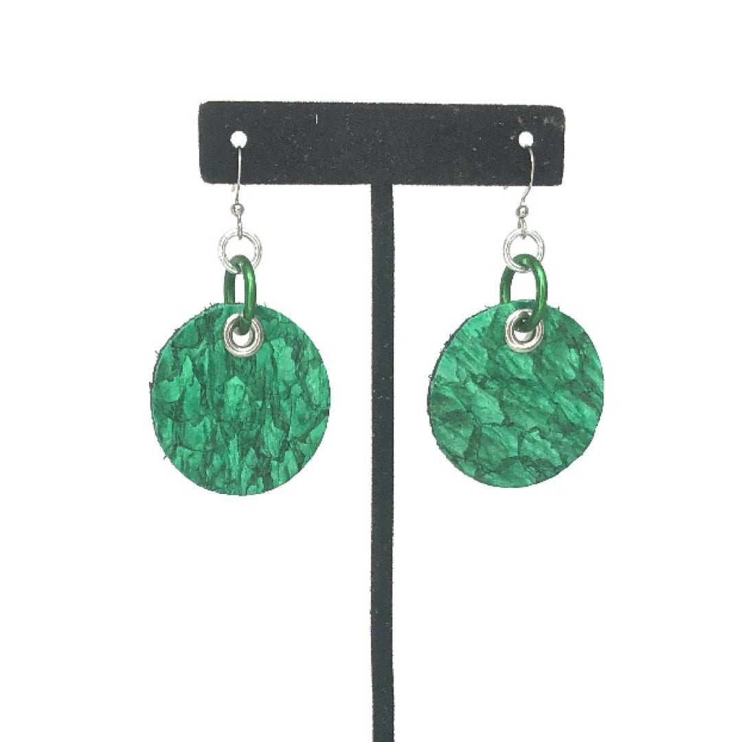 FISH LEATHER ROUND EARRINGS. By NYET Jewelry.
