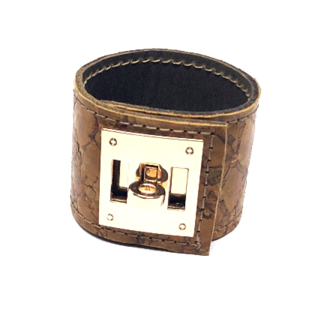 FISH LEATHER CUFF WITH METAL CLOSURE. by NYET Jewelry.