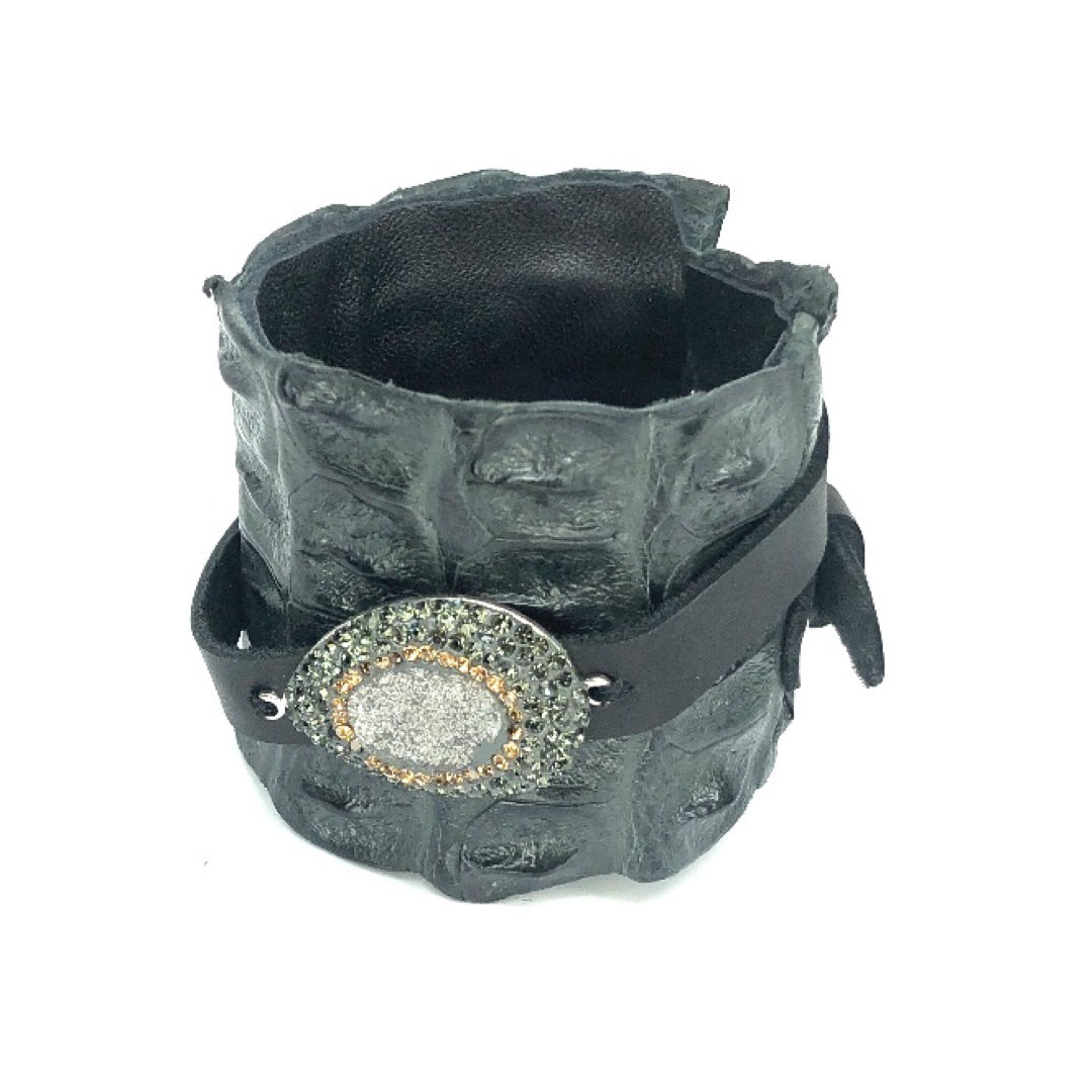 FARM-RAISED CROCODILE LEATHER CUFF WITH PAVE RHINESTONES ADORNMENT AND ADJUSTABLE BUCKLE. By NYET Jewelry.