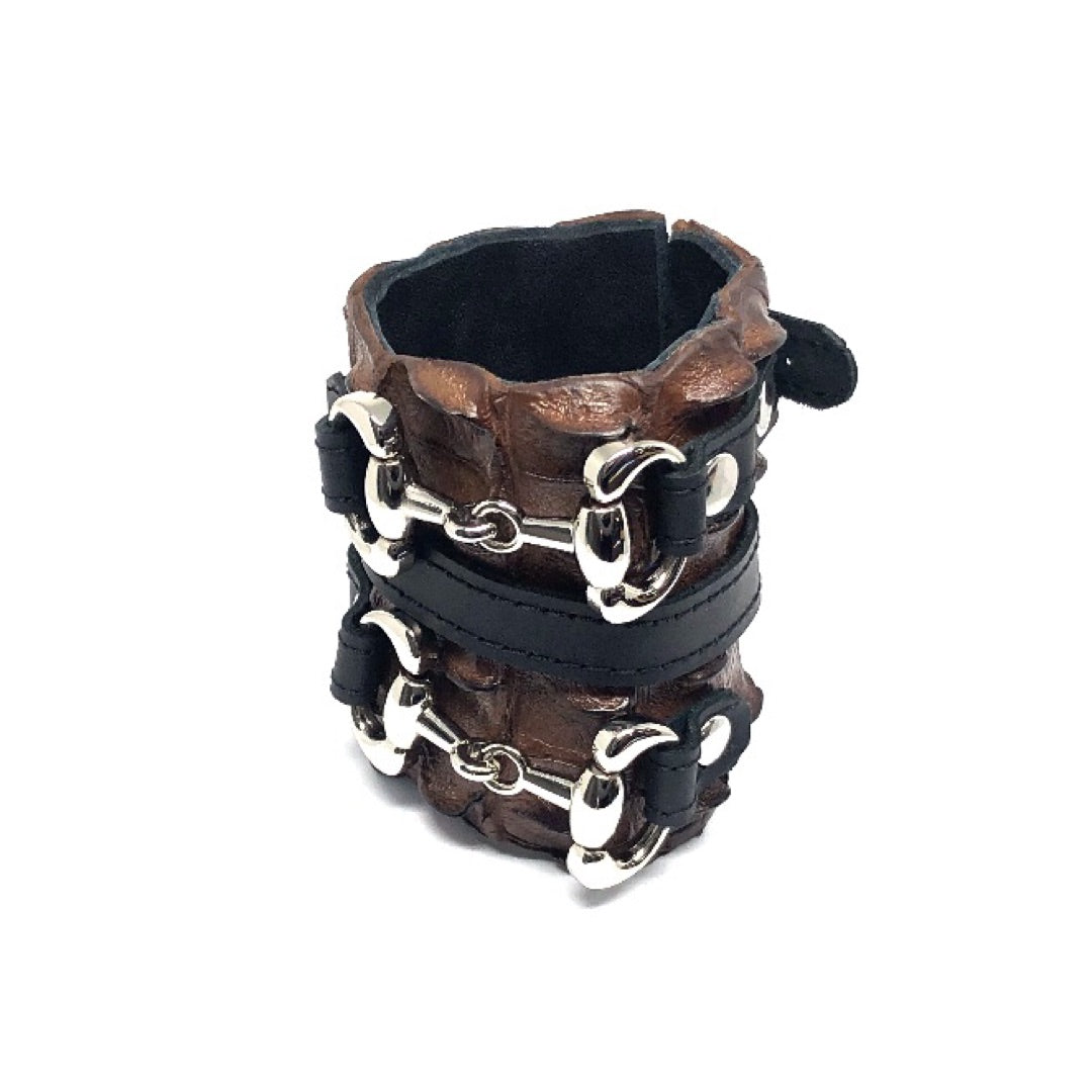 FARM-RAISED CROCODILE LEATHER CUFF WITH 2 D-RING HORSE BITS AND ADJUSTABLE BUCKLE. By NYET Jewelry.