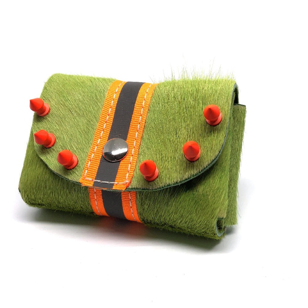 GRASS GREEN HAIR-ON COWHIDE 2-COMPARTMENT WALLET WITH SNAP CLOSURE. By NYET Jewelry.