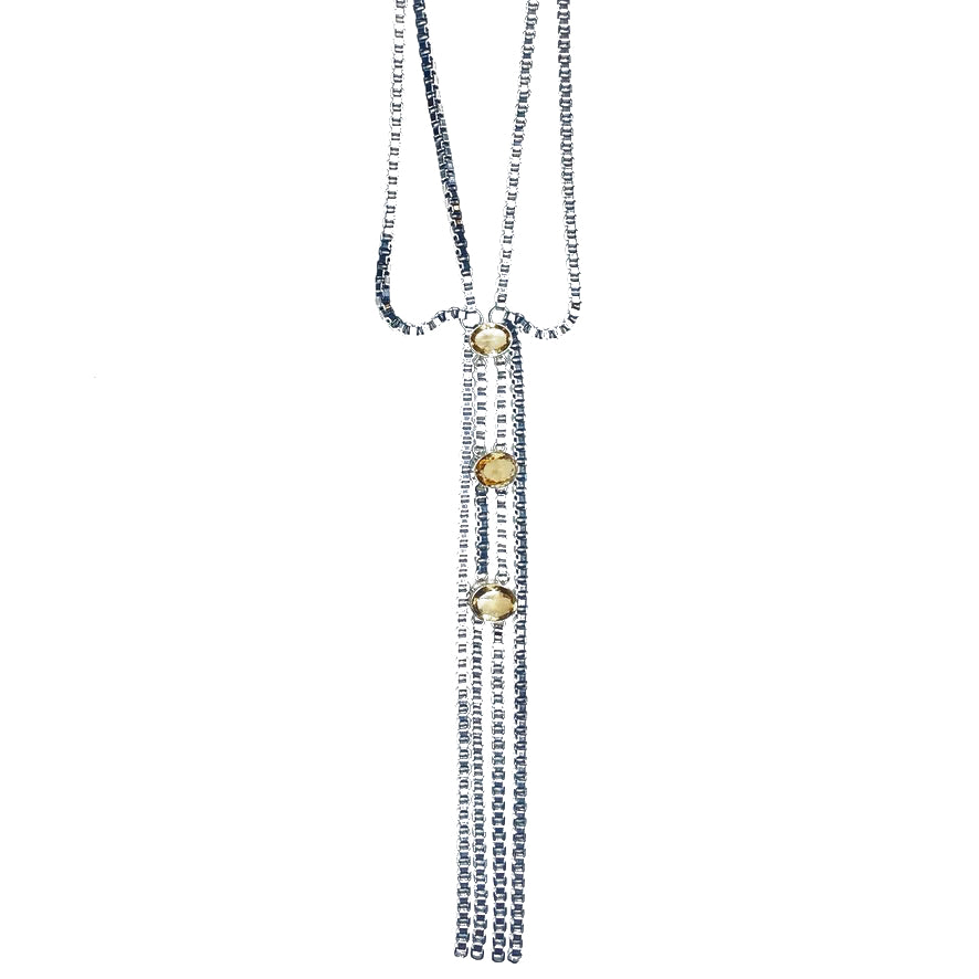 citrine and stainless steel necklace by NYET Jewelry.