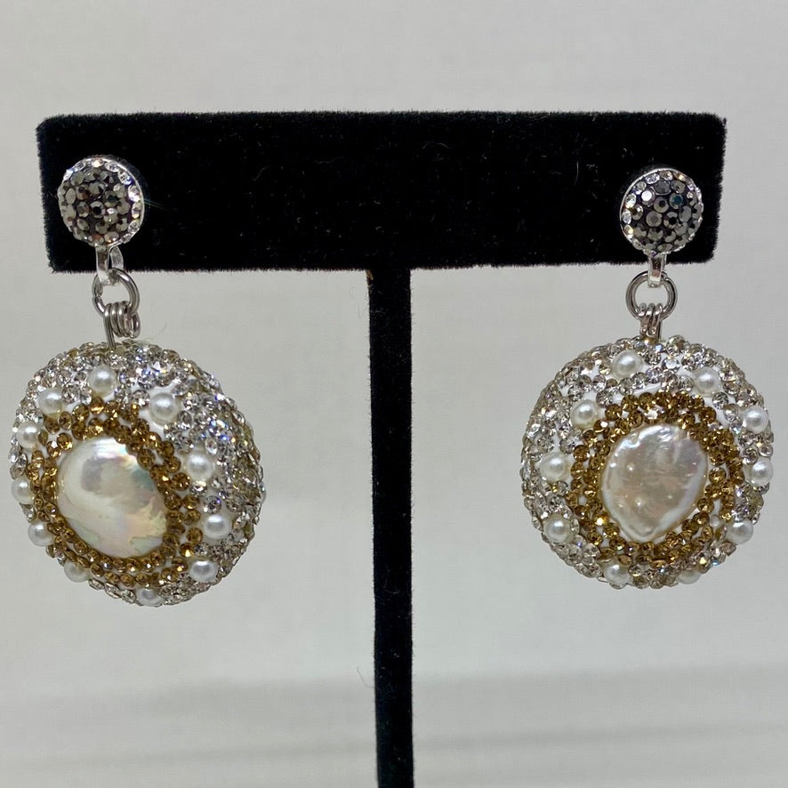 PAVE CRYSTAL-AND-PEARL BEADS EARRINGS. by NYET Jewelry