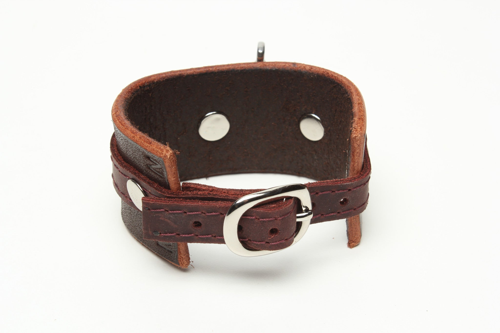 LATIGO LEATHER CUFF WITH ANCHOR SHACKLE brown by nyet jewelry.