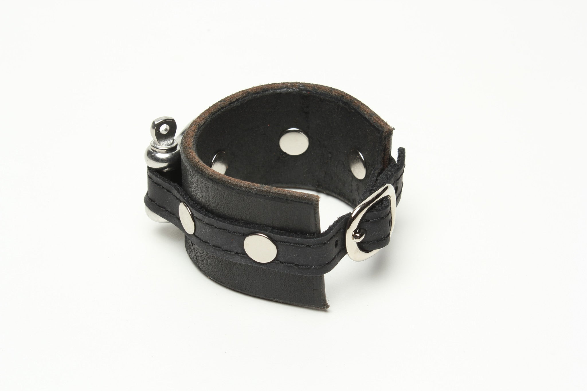 LATIGO LEATHER CUFF WITH ANCHOR SHACKLE by nyet jewelry.