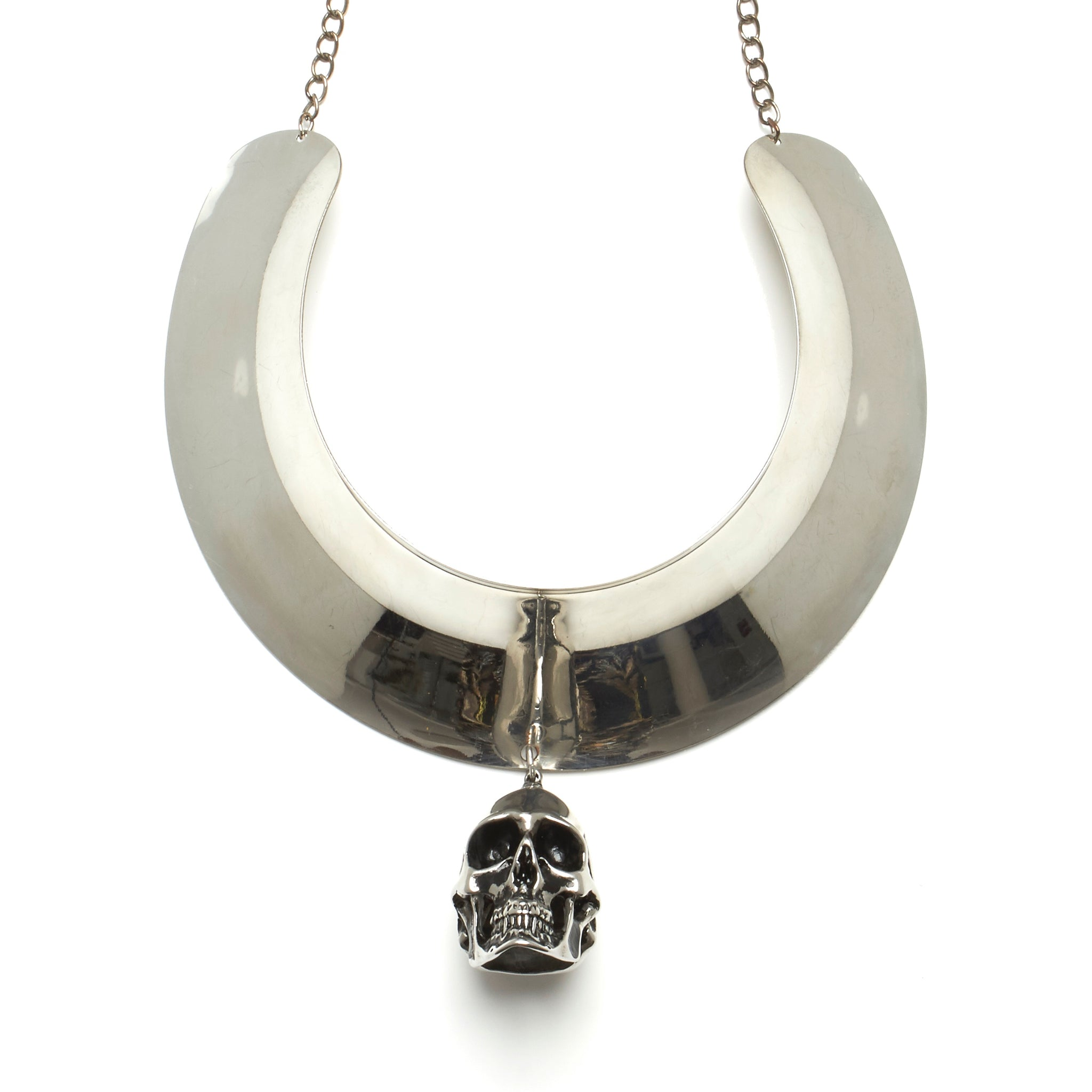 THICK TORQUE NECKLACE WITH LARGE STAINLESS STEEL SKULL PENDENT. BY NYET JEWELRY.