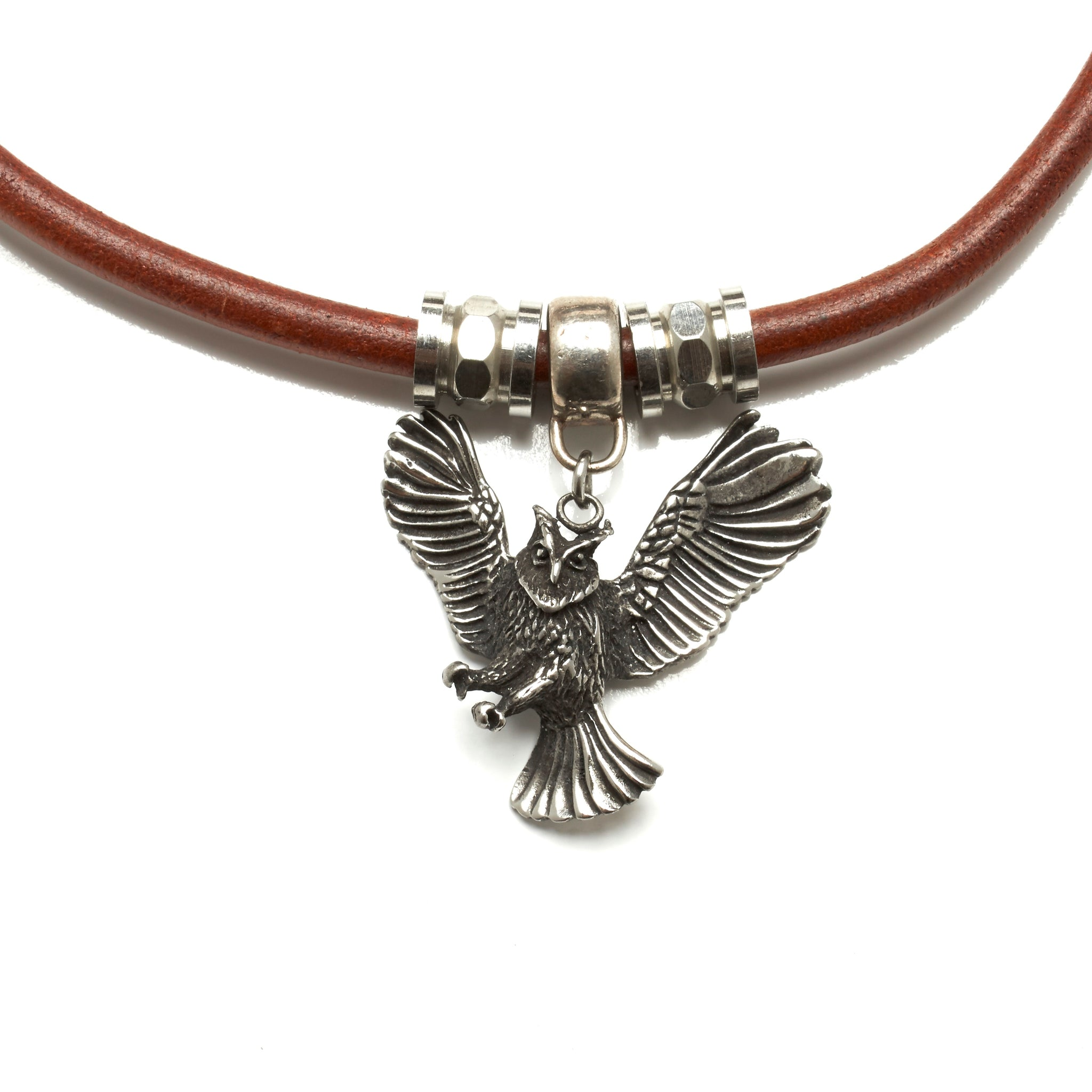 5 MM ROUND LEATHER NECKLACE WITH STAINLESS STEEL OWL PENDANT AND BEADS. by nyet jewelry.
