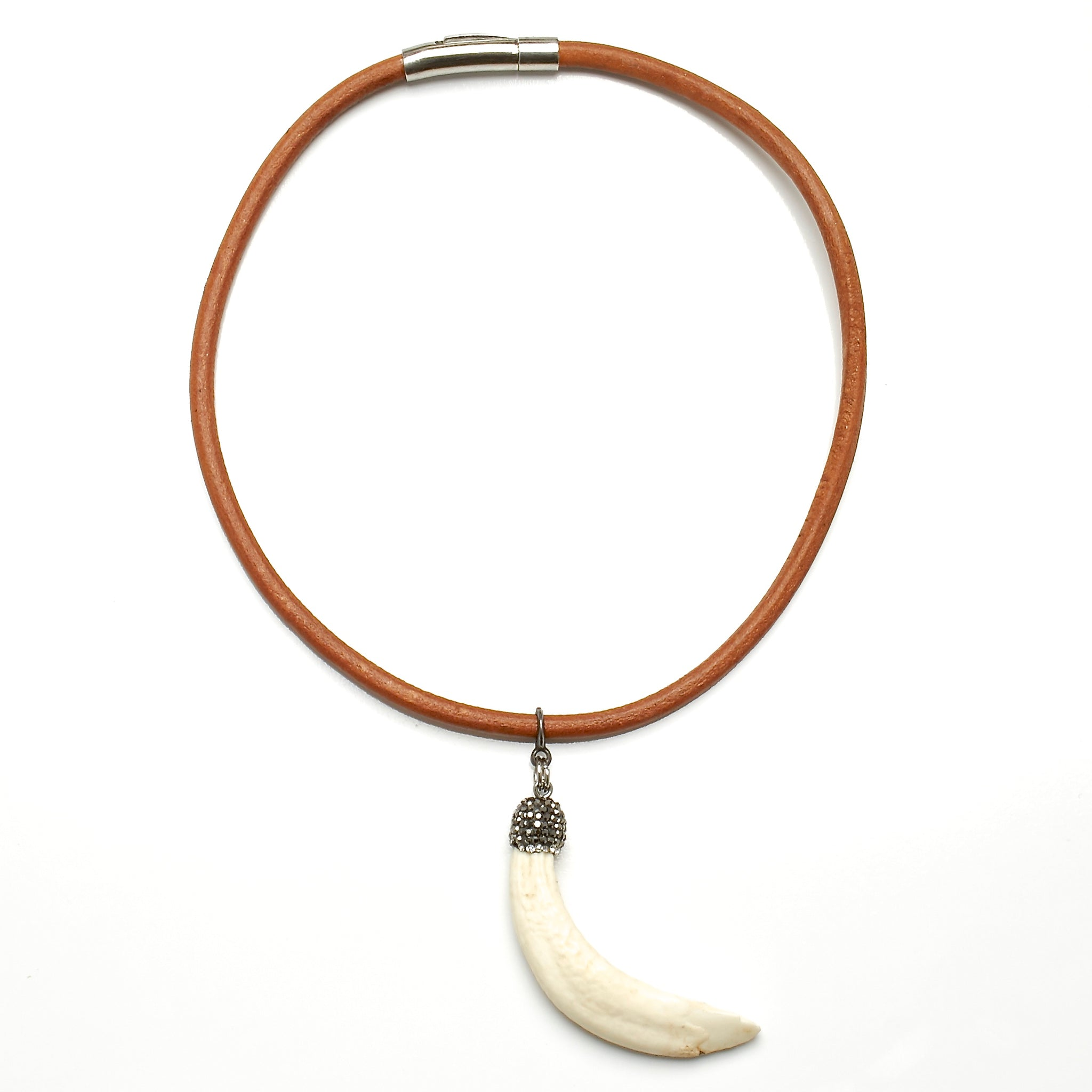5 MM ROUND LEATHER NECKLACE WITH WILD BOAR'S TOOTH PENDANT AND RHINESTONES. by nyet jewelry.