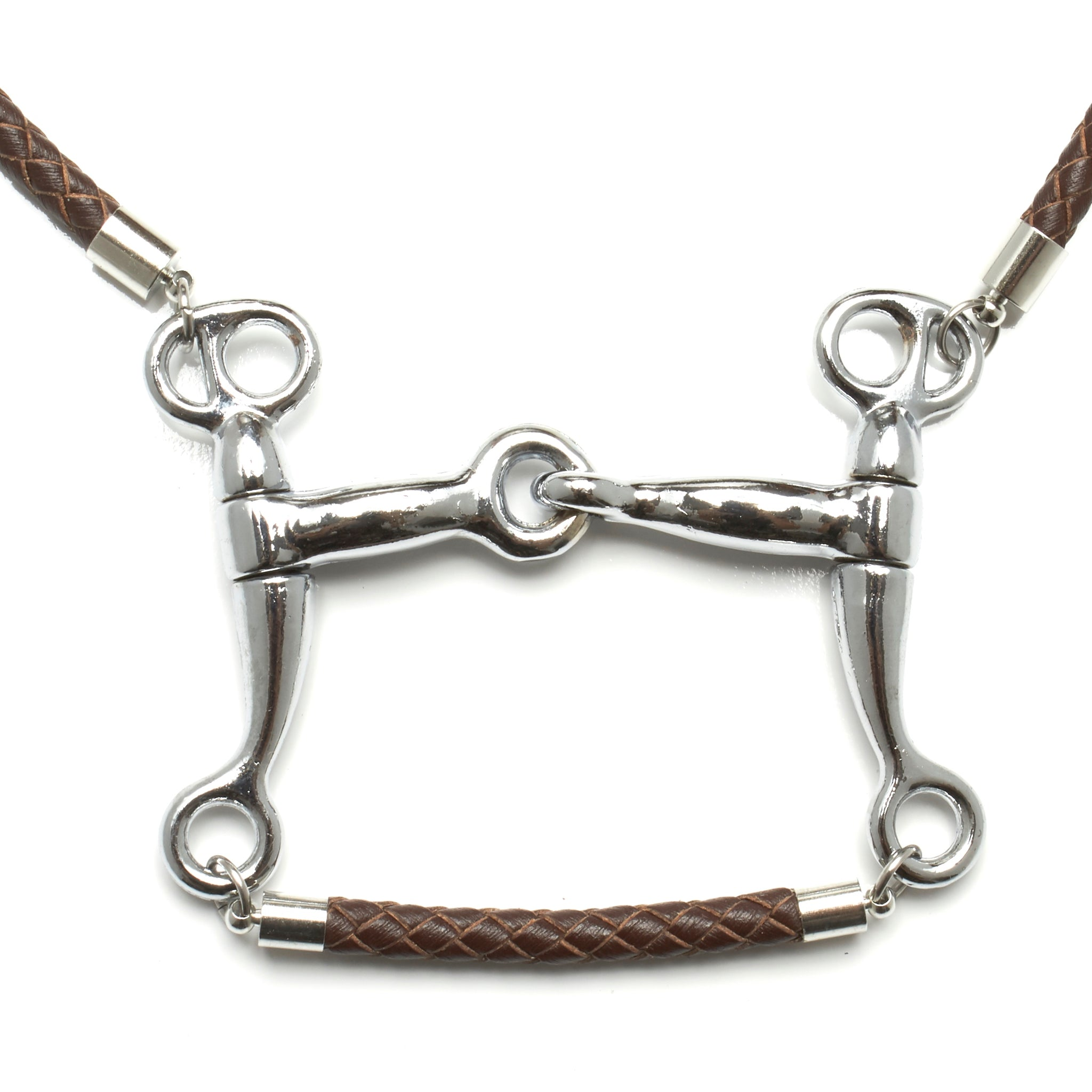 5 MM ROUND BRAIDED LEATHER NECKLACE WITH PELHAM HORSE BIT PENDANT AND LEATHER BAR by nyet jewelry