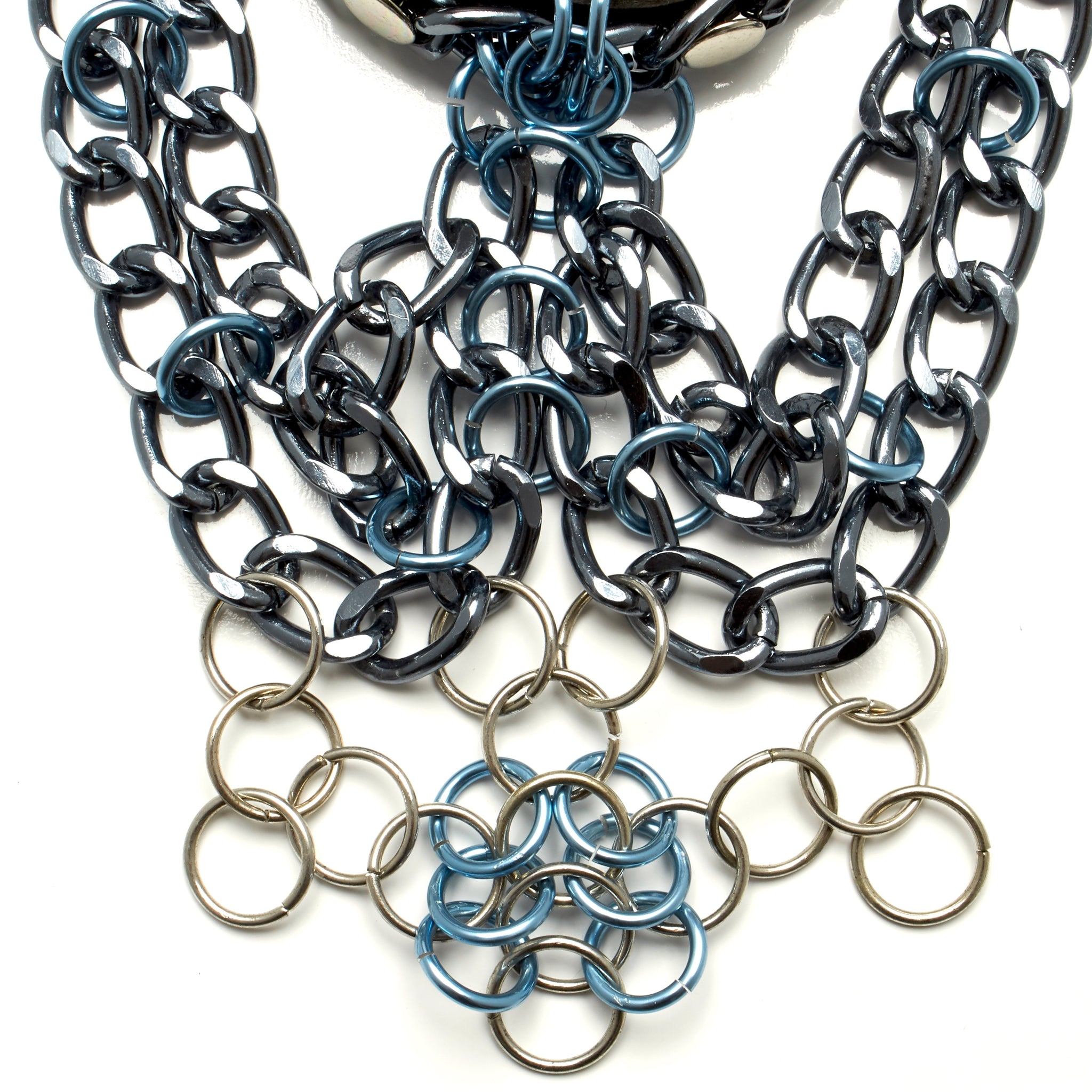 BLACK COWHIDE CHOKER NECKLACE WITH CLUSTER OF CHAINS AND CHAINMAILLE WORK. by nyet jewelry