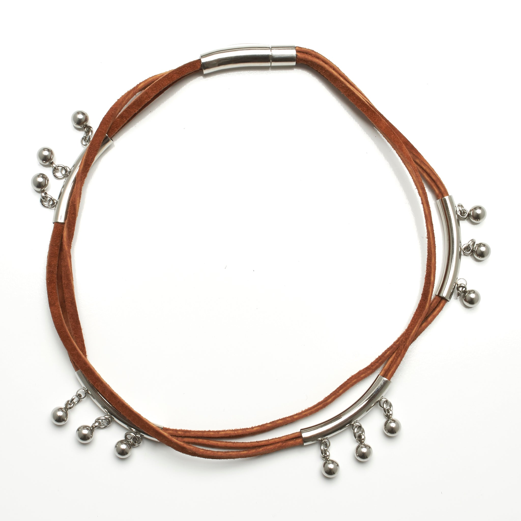 2 in 1 necklace and wraparound bracelet made of suede and stainless steel